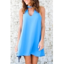Simple Cutout Halter Neck Sleeveless Plain Mini Swing Dress