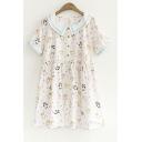 Collared Short Sleeve Fresh Cartoon Pattern Linen Loose Mini A-Line Dress