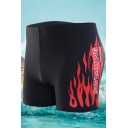 Men's SWIMMING Fire Printed High Waist Bottom Swimwear