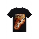 New Arrival 3D Guitar Pattern Casual Loose Round Neck Short Sleeve T-Shirt
