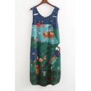 Summer's Fresh Cartoon Printed Round Neck Sleeveless Loose Leisure Tank Dress