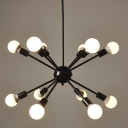 Industrial Edison Bulb Chandelier in Vintage Loft Style in Black Finish, 12 Lights
