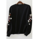 Chic Floral Embroidered Round Neck Long Sleeve Cotton Pullover Sweatshirt