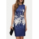 Chic Floral Printed Round Neck Sleeveless Bodycon Mini Elegant Dress