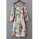 Chic Floral Pattern Long Sleeve Cold Shoulder Midi A-Line Dress