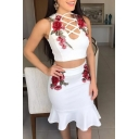 Retro Floral Embroidered Sleeveless Cropped Top with Bodycon Midi Skirt