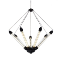 Modern LED Chandelier in Black/Gold Finish, 7 Lights Up Lighting