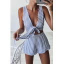 Classic Striped Printed Plunge Neck Sleeveless Cropped Top with Loose Shorts