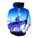 New Arrival 3D Snow Field Lions Printed Long Sleeve Casual Hoodie