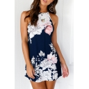 Hot Fashion Open Back Halter Neck Sleeveless Floral Printed Mini A-Line Dress