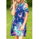 Hot Fashion Cold Shoulder Short Sleeve Round Neck Floral Printed Mini Dress