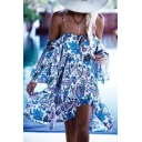 Fashion Floral Printed Spaghetti Straps Long Sleeve Cold Shoulder Midi Slip Dress