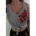 Floral Embroidered Striped Printed V Neck Sleeveless Knotted Hem Cropped Tank Tee