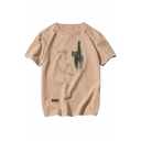 Summer's Fresh Cartoon Cat Printed Short Sleeve Round Neck Casual T-Shirt