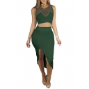 Fashion Hollow Out Sleeveless Cropped Tank with Midi Plain Pencil Skirt