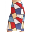 Women's Fashion Asymmetric Geometric Color Block Printed Midi Bodycon Skirt