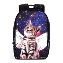 New Stylish Galaxy Cartoon Cat Printed Outdoor Leisure Backpack