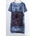 Tie-Dyed Embroidery Bird Tree Pattern Short Sleeve Round Neck Mini T-Shirt Dress