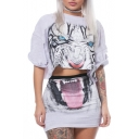 Round Neck Short Sleeve Tiger Printed Cropped Tee with Mini Bodycon Skirt