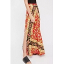 Holiday Beach Boho Style Floral Printed Slit Side Maxi Skirt