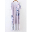 New Arrival Tie-Dyed Color Block Printed Short Sleeve V-Neck High Low Hem Split Sides T-Shirt Dress