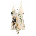 New Arrival Holiday Beach Spaghetti Straps Foliage Printed Rompers