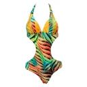New Fashion Color Block Halter Neck Sexy Chic One Piece Swimwear