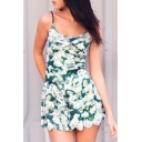 Fresh Floral Printed Spaghetti Straps Scallop Hem Sleeveless Rompers