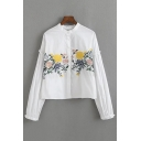 Floral Embroidered Fashion Long Sleeve Casual Buttons Down Shirt