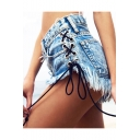 Lace Up Sides Fringe Hem Low Waist Plain Denim Shorts
