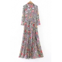 New Fashion Lapel Collar Floral Striped Printed Buttons Down Maxi Shirt Dress