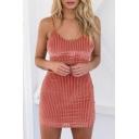 Fashion Spaghetti Straps Sleeveless Zip Back Cropped Cami with Mini Bodycon Skirt Plain Co-Ords