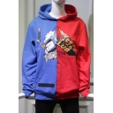 Cartoon Letter Printed Color Block Chic Long Sleeve Loose Leisure Hoodie