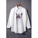 Women's Cartoon Cat Printed Single Breasted Long Sleeve Lapel Shirt