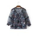 Sheer Tied V-Neck Long Sleeve Floral Printed Blouse