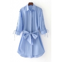 New Arrival Striped Crisscross Lace Up Long Sleeve Belt Waist Single Breasted Mini Shirt Dress