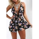 Plunge Neck Sleeveless Floral Printed Hot Fashion Loose Rompers