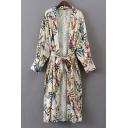 Women's Open Front Long Sleeve Belt Waist Floral Printed Tunic Kimonos
