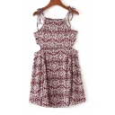 Fashion Cutout Waist Spaghetti Straps Sleeveless Floral Printed Mini Cami Dress