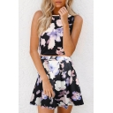 Floral Printed Round Neck Sleeveless Top with Mini A-Line Skirt Co-ords
