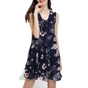 Floral Printed V Neck Sleeveless Lace-Up Chiffon Mini A-Line Dress