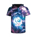 Fantasy Color Block Galaxy 3D Printed Short Sleeve Hooded Tee
