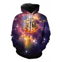 3D Galaxy Cartoon Cat Pattern Long Sleeve Casual Loose Hoodie