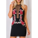 Sheer Mesh Inserted Sleeveless Floral Embroidered Mini Bodycon Dress