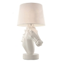 Horse Table Lamp in White Resin with Fabric Shade