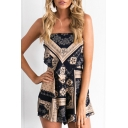 Hot Fashion Floral Printed Open Back Spaghetti Straps Loose Beach Rompers