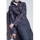 Vintage Fashion Plaid Color Block Tied Long Sleeve Single Breasted Shirt