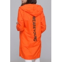 New Arrival Simple Letter Printed Long Sleeve Hooded Tunic Sun Coat