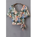 Summer's New Fashion Floral Printed V Neck Short Sleeve Bow Hem Blouse