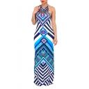 Tribal Striped Printed Halter Neck Sleeveless Fashion Maxi Bodycon Dress